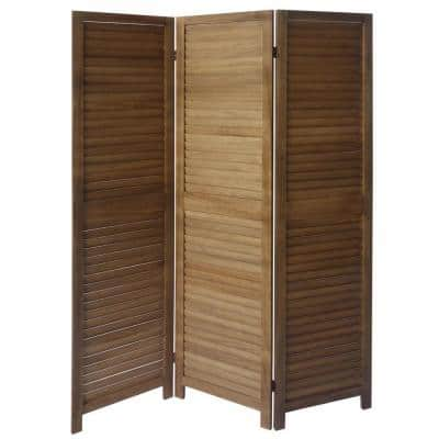 5.5 ft. Brown 3-Panel Foldable Wooden Room Divider Privacy Screen with Shutter Design and Metal Hinges