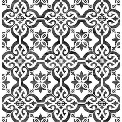 Porto Tile Onyx Geometric Vinyl Peel & Stick Wallpaper Roll (Covers 40.5 Sq. Ft.)
