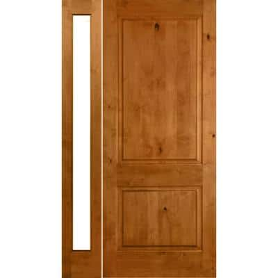 44 in. x 80 in. Rustic Unfinished Knotty Alder Square-Top Left-Hand Left Full Sidelite Clear Glass Prehung Front Door