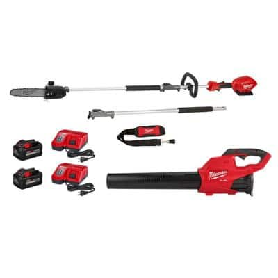 M18 FUEL 10 in. 18-Volt Lithium-Ion Brushless Cordless Pole Saw Kit w/Attachment Capability and M18 Blower Kit (2-Tool)