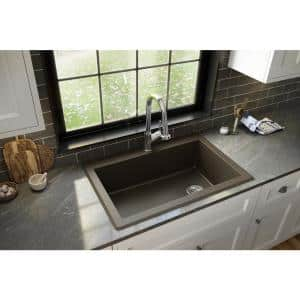 Drop-In Quartz Composite 33 in. 1-Hole Single Bowl Kitchen Sink in Brown