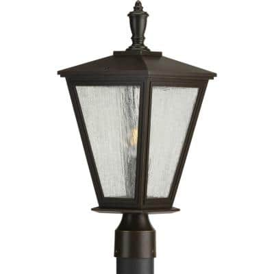 Cardiff Collection 1-Light Antique Bronze Clear Seeded Glass New Traditional Outdoor Post Lantern Light
