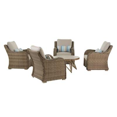 Gwendolyn 5-Piece Wicker Patio Deep Seating Set with Sunbrella Cast Ash Cushions