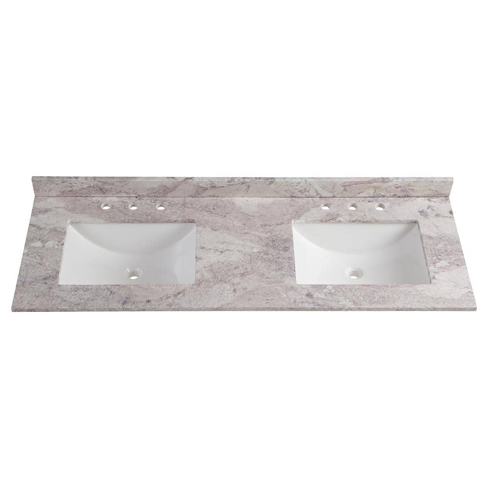 Home Decorators Collection 61 In W Stone Effects Double Sink Vanity Top In Winter Mist Se6122r Wm The Home Depot