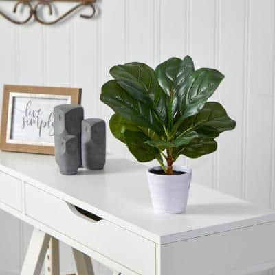 11 in. Artificial Fiddle Leaf Plant in White Planter (Real Touch)
