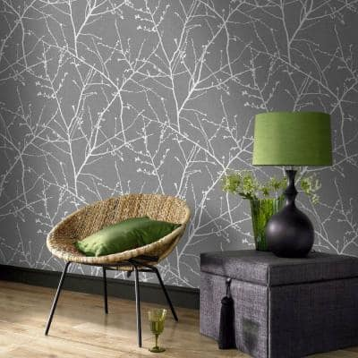Charcoal & Silver Vinyl Non-Pasted Moisture Resistant Wallpaper Roll (Covers 56 Sq. Ft.)