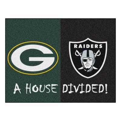 NFL Packers / Raiders Green House Divided 3 ft. x 4 ft. Area Rug