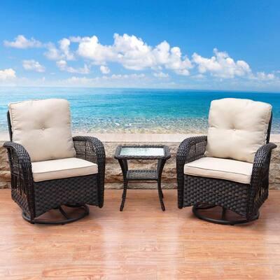 Dark Brown 3-Piece Wicker Swivel Patio Conversation Set with Beige Cushions
