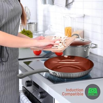 11-Piece Aluminum Nonstick Cookware Set in Gold Lines