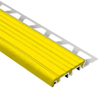 Trep-B Aluminum with Yellow Insert 5/16 in. x 4 ft. 11 in. Metal Stair Nose Tile Edging Trim