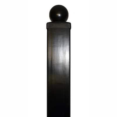 3.5 in. x 3.5 in. x 96 in. Black Steel Driveway Gate Post