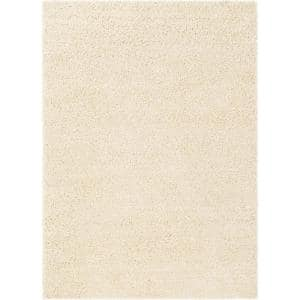 Madison Shag Plain Vanilla 3 ft. x 5 ft. Modern Solid Area Rug