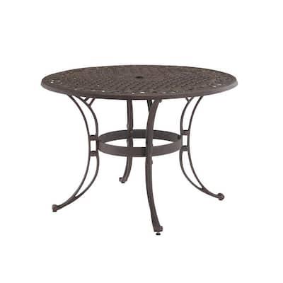Sanibel 42 in. Rust Bronze Round Cast Aluminum Outdoor Dining Table