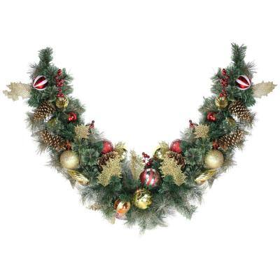 6 ft. Unlit Giant Green Foliage Pinecones and Berries Embellished Garland
