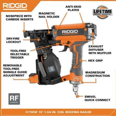 Pneumatic 15° 1-3/4 in. Coil Roofing Nailer