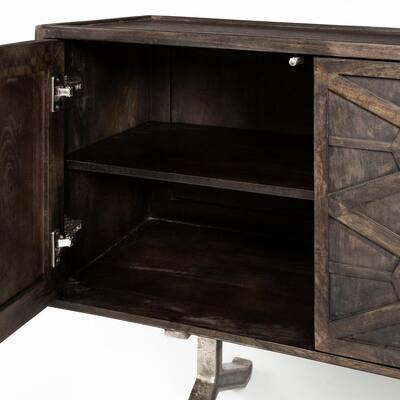 Hollandsworth 73.5 in. x 19 in. Brown Solid Wood Frame Gold Metal Leg 4-Door Cabinet Sideboard
