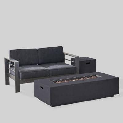 Cape Coral Grey 3-Piece Metal Patio Fire Pit Set with Dark Grey Cushions