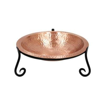 14 in. W Round Satin Hammered Solid Copper Birdbath Bowl w/ Blk Wrought Iron Short Stand Garden Accent Outdoor Accessory