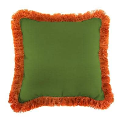 Sunbrella Spectrum Cilantro Square Outdoor Throw Pillow with Tuscan Fringe