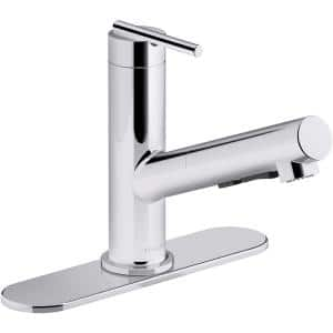 Crue Single-Handle Pull-Out Sprayer Kitchen Faucet in Polished Chrome
