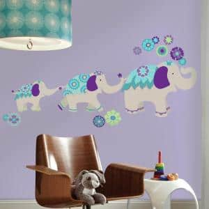 2.5 in. W x 27 in. H Waverly Teal and Purple Elephant Mega 11-Piece Peel and Stick Giant Wall Decal