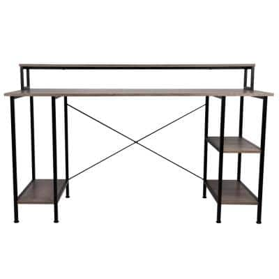 55 in. Desktop Computer Table with Shelves and CPU Storage, Home, Product Width 23.66 in. Office Brown