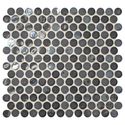 Premier Accents Caviar Penny Round 10 in. x 11 in. x 6 mm Glass Mosaic Wall Tile (0.83 sq. ft./Each)