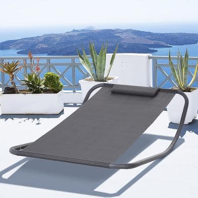 Metal Sling Rocking Patio Lounge Chair for Indoor/Outdoor Use, Featuring a Modern Design, Steel Frame & Included Pillow