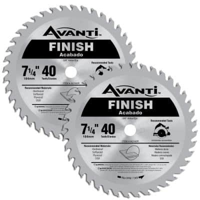 7-1/4 in. x 40-Tooth Finish Circular Saw Blade (2-Pack)