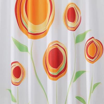 Shower Curtain in Red/Orange Marigold