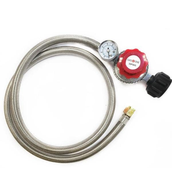 Gasone 4 Ft 0 Psi To 30 Psi High Pressure Propane Regulator And Steel Braided Hose With Psi Gauge 2123 The Home Depot