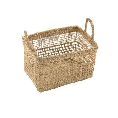 Rectangular Handmade Wicker Seagrass Woven Over Metal Small Baskets with Handles