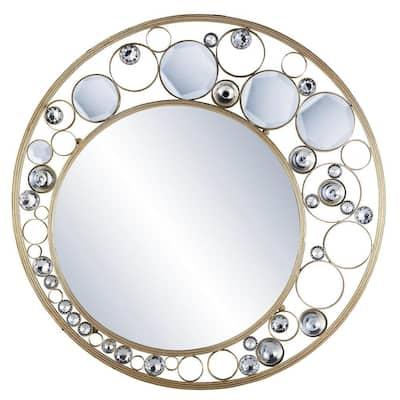 Medium Oval Gold Contemporary Mirror (26 in. H x 26 in. W)