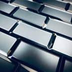 Reflections Graphite Blue Beveled Subway 3 in. x 6 in. Matte Glass Mirror Wall Tile (14 Sq. Ft../Bx)