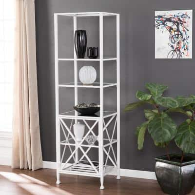 72 in. White Metal 5-shelf Etagere Bookcase with Open Back