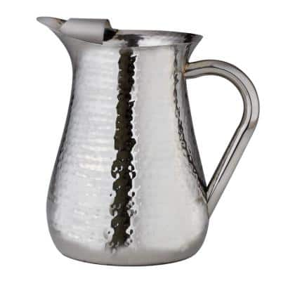 72 oz.Hammered Stainless Steel Water Pitcher with Ice Guard