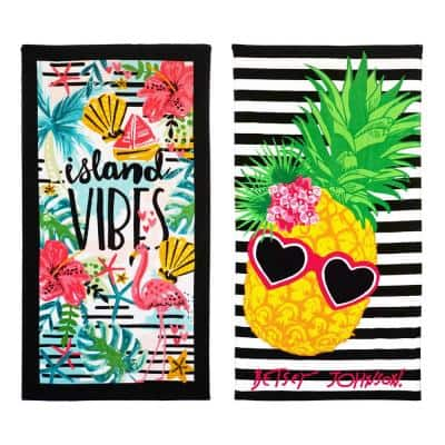 Island Vibes and Chill Pineapple Cotton 2-Piece Beach Towel Set