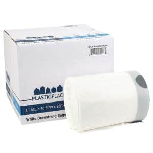 8-9 Gal. White Drawstring Trash Bags (Case of 200)