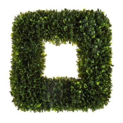 17 in. Artificial Square Tea Leaf Wreath with Grapevine Base