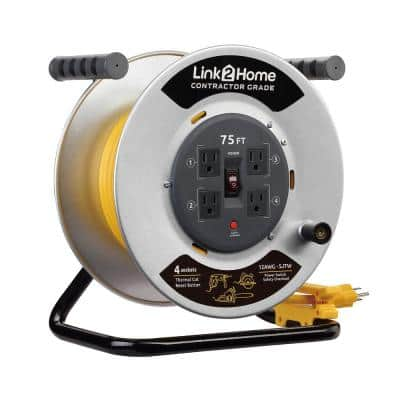 75 ft. 12/3 Extension Cord Storage Reel with 4 Grounded Outlets and Overload Circuit Breaker