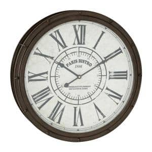 Large Round Dark Brown Metal Wall Clock with Roman Numerals 20 in. x 20 in.