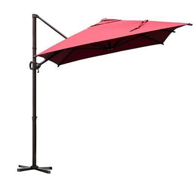9 ft. x 7 ft. Offset Cantilever Adjustable Vertical Tilt Offet Patio Umbrella in Dark Red
