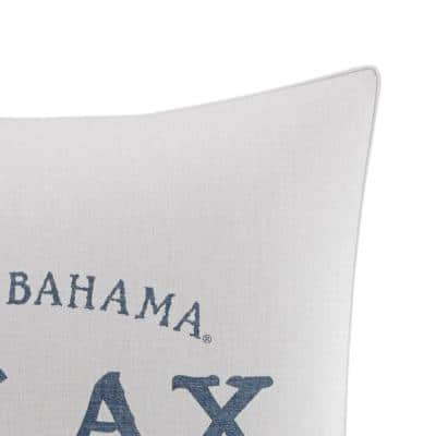 Raw Coast Relax Blue Graphic Cotton 20 in. x 20 in. Throw Pillow
