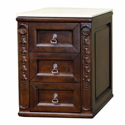 Arcadia 17.5 in. W x 18.5 in. D Freestanding Side Cabinet with Marble Top in Walnut
