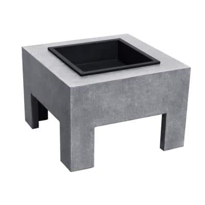 23 in. x 15.4 in. Square Wood Burning Monolith Fire Pit in Light Gray Cement