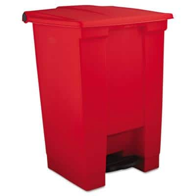 12 Gal. Red Plastic Square Indoor Utility Step-On Trash Can