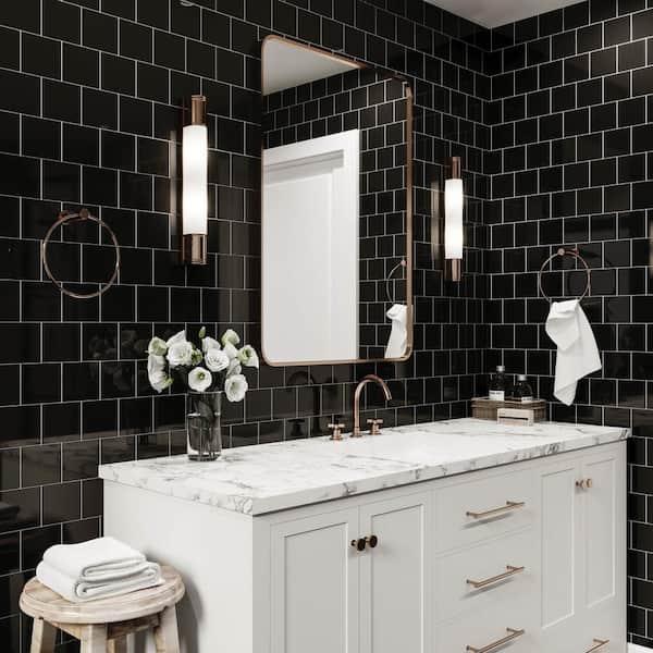 Daltile Restore Black 4 1 4 In X 4 1 4 In Glazed Ceramic Wall Tile 12 5 Sq Ft Case K111441p1 The Home Depot