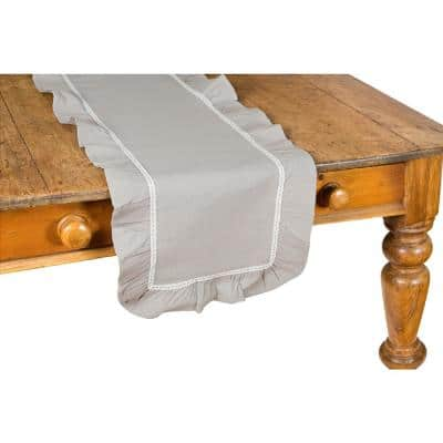 Ruffle Trim 16 in. x 54 in. Taupe with White Lace Table Runner