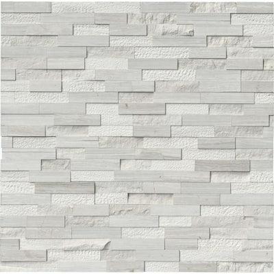 White Oak Split Face Ledger Panel 6 in. x 24 in. Multi-Finish Marble Wall Tile (10 cases / 60 sq. ft. / pallet)