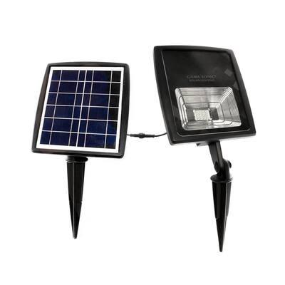 Solar Flood Light 2-Watt Black Solar Outdoor Integrated LED Landscape Flood Light with Bright White